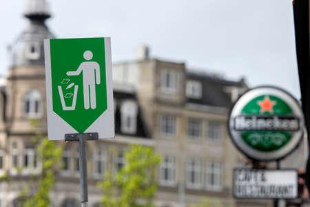 Billboard Heineken And Throw Away Trash At Amsterdam The Netherlands 27-4-2020