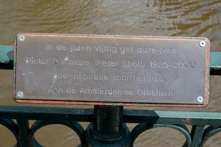 Memorial Sign For Peter Shott The Writer Of The Dutch Song Aan De Amsterdamse Grachten At Amsterdam The Netherlands b2-7-2020 Editorial