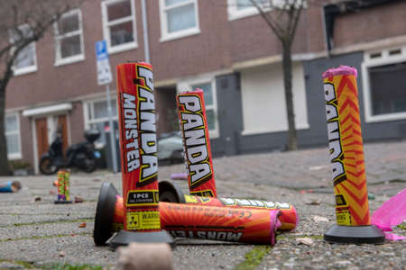 Low Angle View Fireworks On The Street The Next Day At Amsterdam The Netherlands 1-1-2020