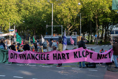 Rebellion Extinction Demonstrators At A Street Crossing At Amsterdam The Netherlands 9/21/2020