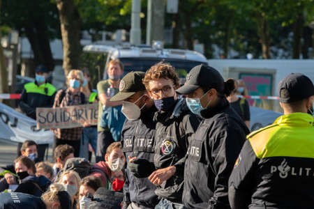 Rebellion Extinction Demonstrator Arrested On The Streets At Amsterdam The Netherlands 9/25/2020