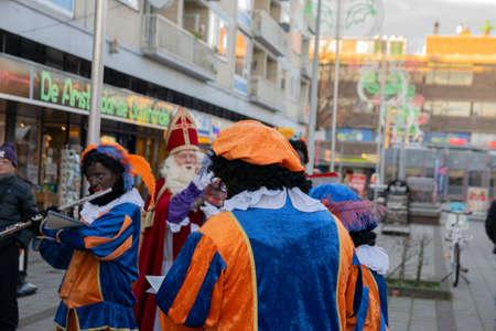 Group Of Zwarte Pieten With Sinterklaas At Buitenveldert Amsterdam The Netherlands 30-11-2019