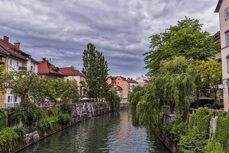 ljubljana: Ljubljanica River in Ljubljana Stock Photo