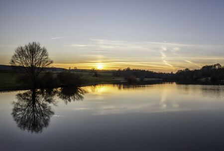 Evening View of the Sutton Bingham Reservoir near Yeovil in Somerset in England
