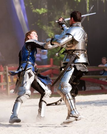 Atlanta, Georgia, USA - May 21, 2011 - Knights duel during the annual Renaissance Festival in Atlanta. The festival is a popular annual tourist attraction in the Southeast.