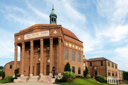 asheville: Historic art deco First Baptist Church in downtown Asheville, North Carolina  Stock Photo