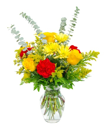 Colorful flower arrangement centerpiece in glass vase with roses, lilies and carnations isolated on white  photo