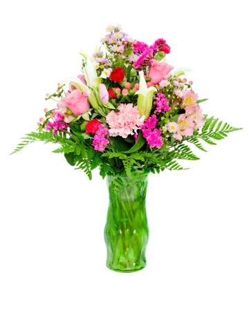 Bunte Blumen-Arrangement Herzstück In Glas-Vase Mit Rosen ...