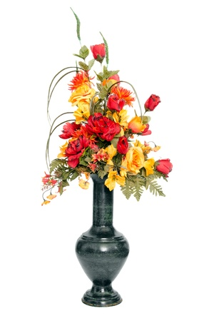 Fall color silk flower arrangement in urn photo