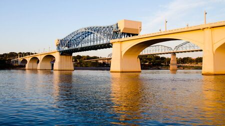 Market Street Bridge, or John Ross Bridge, in Chattanooga, Tennessee.