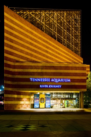 aquarium visit: CHATTANOOGA, TN - OCT. 8: Facade of the River Journey building at the Tennessee Aquarium in Chattanooga, TN, on Oct. 8, 2011. The aquarium welcomes more than 1 million visitors every year.