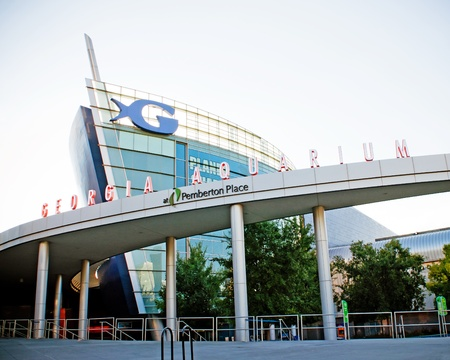 atlanta tourism: ATLANTA - AUGUST 9: Georgia Aquarium facade in Atlanta on August 9, 2010. The landmark is the worlds largest with more than 8 million gallons of water.