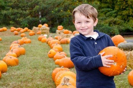 patches: Happy young boy picking a pumpkin for Halloween  Stock Photo