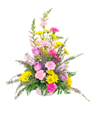 arrangement: Colorful fresh flower arrangement centerpiece with daisies, carnations, roses and snapdragons isolated on white Stock Photo