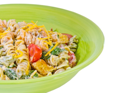 rotini: Cheesy bacon, lettuce and tomato pasta salad isolated on white Stock Photo