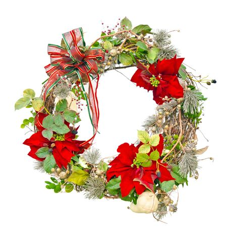 Christmas wreath isolated on white photo
