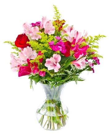 Kleurrijk de regelingsbelangrijkst voorwerp van het bloemboeket in vaas die op wit wordt geïsoleerd.