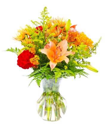 gebera: Colorful flower bouquet arrangement centerpiece in vase isolated on white. Stock Photo