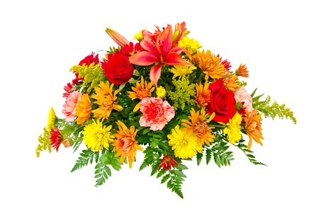 floral arrangement: Colorful flower bouquet arrangement centerpiece isolated on white.
