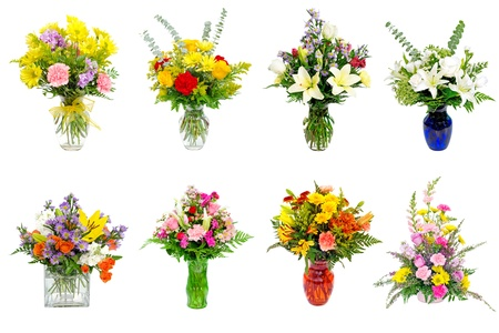 Collage of various colorful flower arrangements centerpieces as bouquets in vases and baskets photo