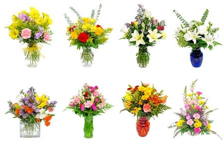 Collage van diverse kleurrijke bloemstukken centerpieces als boeketten in vazen ??en manden Stockfoto