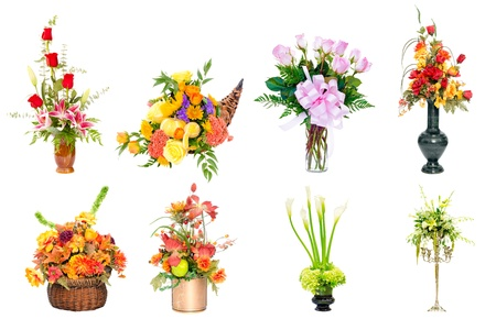 floral arrangements: Collage of various colorful flower arrangements centerpieces as bouquets in vases and baskets