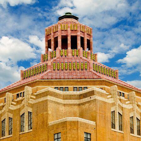 asheville: Art deco terracotta tile roof of City Hall in Asheville, North Carolina