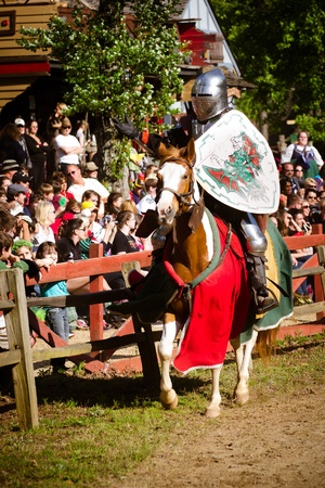 ATLANTA - APRIL 23:Knight in action during the annual Renaissance Festival in Atlanta on April 23, 2012. The festival is a popular annual tourist attraction in the Southeast Stock Photo - 13289616