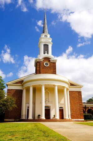 Historic church with Greek revival architecture Stock Photo