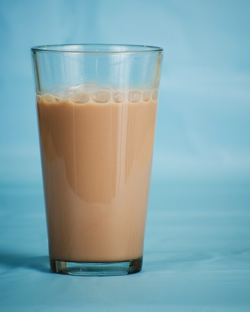 lowfat: Low-fat chocolate milk in glass Stock Photo