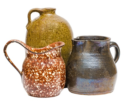 Collection of antique Depression-era clay containers with pitchers and jugs Stock Photo - 13476186