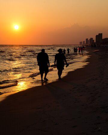 panama city beach: Shoreline di Panama City Beach al tramonto