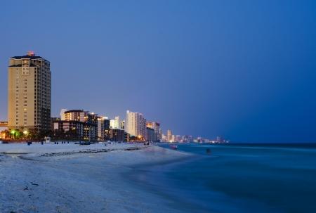 Panama City Beach Florida cityscape at night  photo