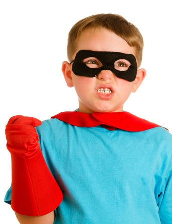Child pretending to be a superhero Stock Photo