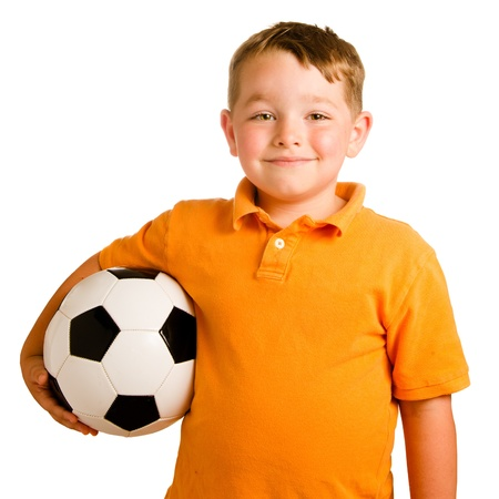 balls kids: Happy child with soccer ball isolated on white