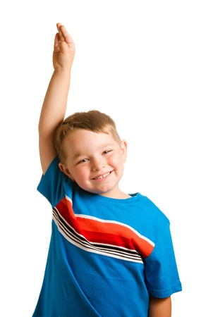 Back to school education concept with portrait of child raising his hand isolated on white photo