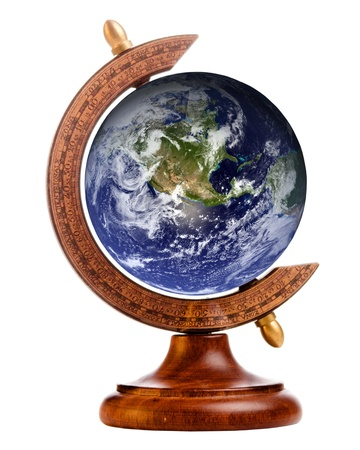 small world: Image of planet earth on stand for antique globe, with elements of this image furnished by NASA