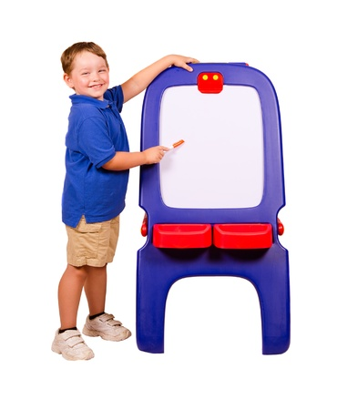 dry erase board: Child pointing at dry erase board with room for your text