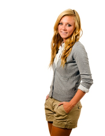 Portrait of beautiful teenage girl smiling isolated on white Фото со стока - 14396914
