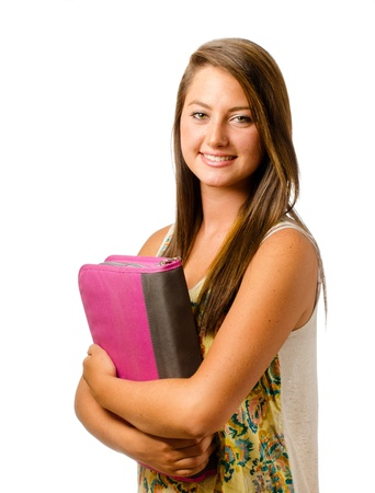 Portrait of happy smiling teenage schoolgirl Stok Fotoğraf - 14471319