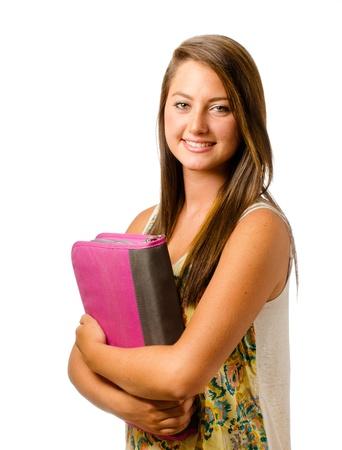 school bag: Retrato de colegiala de adolescente sonriendo feliz Foto de archivo