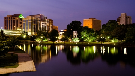 Night cityscape scene of downtown Huntsville, Alabama, from Big Spring Park