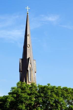 Steeple of historic church in Huntsville, Alabama photo
