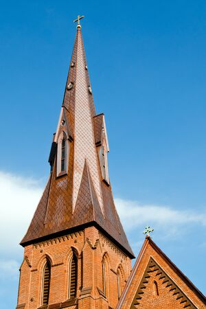 Steeple of historic church in Huntsville, Alabama photo