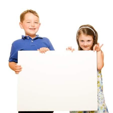 room for text: Portrait of children holding blank sign with room for text isolated on white
