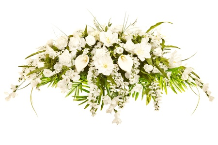 Silk casket cover funeral flower arrangement  photo