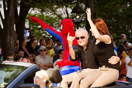 spiderman: ATLANTA - Sept. 1: Spider-Man creator Stan Lee waves to the crowd at the annual DragonCon parade on Sept. 1, 2012. DragonCon bills itself as the largest Sci-Fi convention in the world.