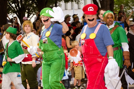 nintendo: ATLANTA - Sept. 1: Nintendo fans dressed as game characters march in the annual DragonCon parade on Sept. 1, 2012. DragonCon bills itself as the largest Sci-Fi convention in the world.
