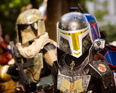 world wars: ATLANTA - Sept. 1: A Star Wars fan dressed as Boba Fett marches in the annual DragonCon parade on Sept. 1, 2012. DragonCon bills itself as the largest Sci-Fi convention in the world. Editorial