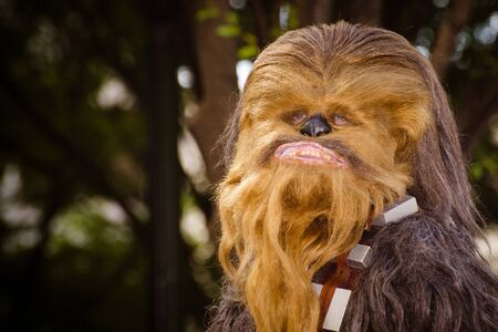 atlanta tourism: ATLANTA - Sept. 1: A Star Wars fan dressed as Chewbacca marches in the annual DragonCon parade on Sept. 1, 2012. DragonCon bills itself as the largest Sci-Fi convention in the world.